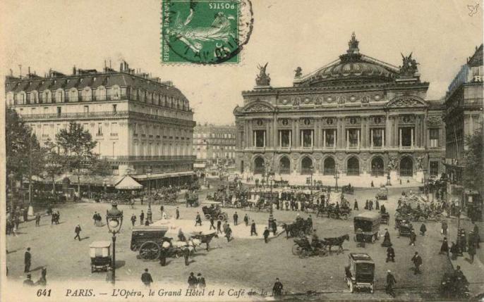 LL 641 (vue 4) - L'Opéra, le Grand Hôtel et le Café de la Paix