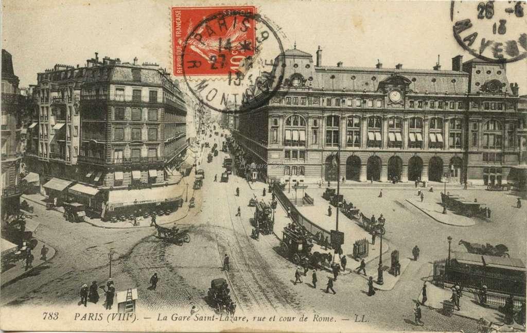 LL 783 - La Gare Saint-Lazare, rue et cour de Rome