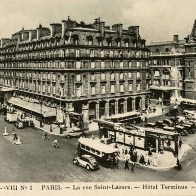 LL S. - VIII N° 1 - PARIS - La Rue Saint-Lazare - Hôtel Terminus