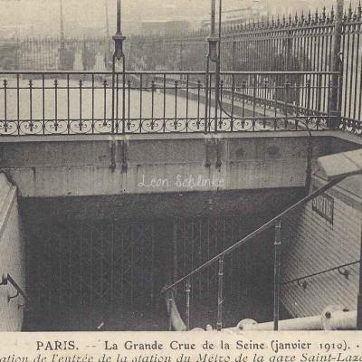 ND 222 - Grande Crue de Janvier 1910 - Entrée du Métro inondée