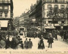 ND 3636 - PARIS - Le Carrefour des Ecrasés vue sur la rue du Fbg Montmartre