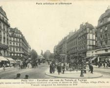 PARIS III° - Carrefour des rues du Temple et Turbigo