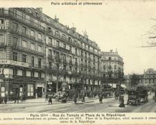 PARIS III° - Rue du Temple et Place de la République