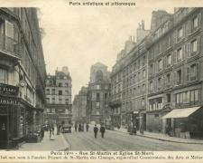 PARIS IV° - Rue St-Martin et Eglise St-Merri