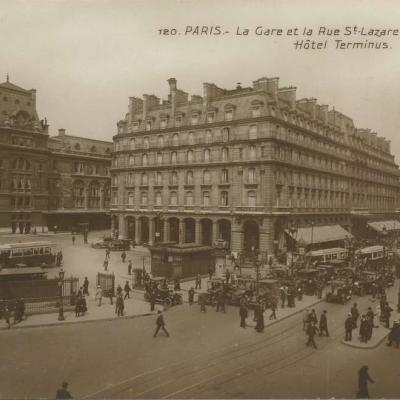 PC 120  - La Gare et la Rue St-Lazare - Hôtel Terminus