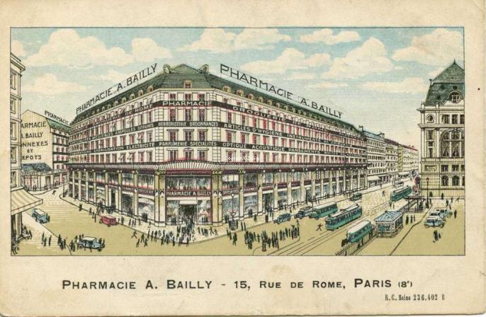 Pharmacie A. BAILLY - 15, Rue de Rome, PARIS (8°)