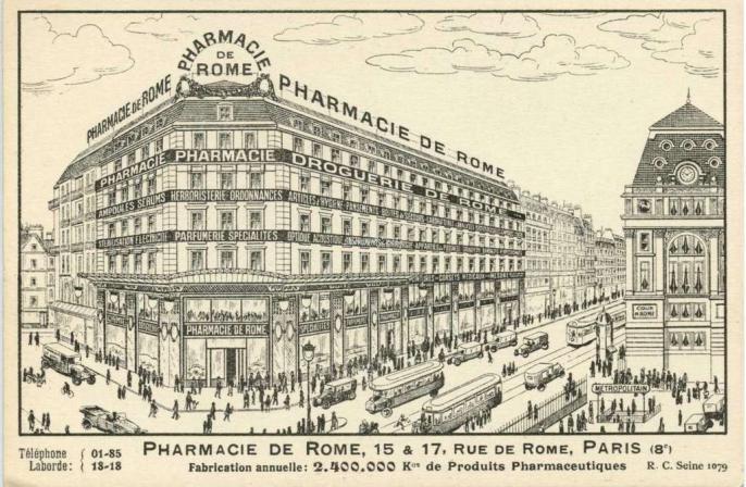 Pharmacie de Rome - 15 & 17, Rue de Rome, PARIS (8°)