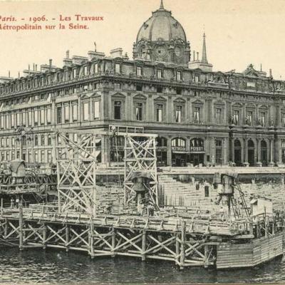 RN 355 - Paris 1906 - Les Travaux du Métropolitain sur la Seine