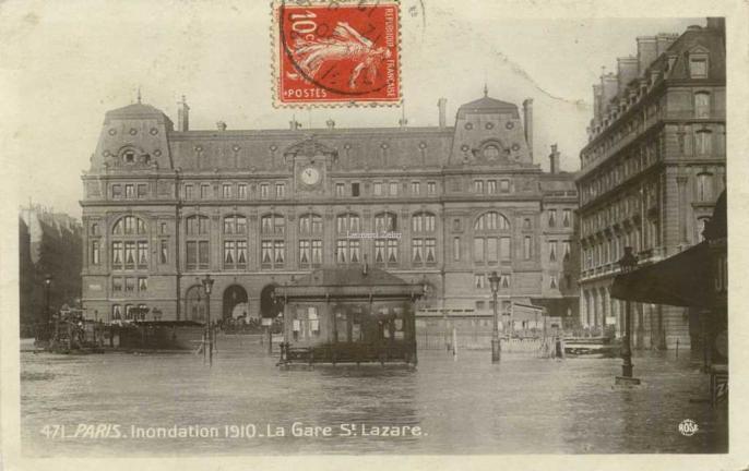 Rose 471 - PARIS - Inondation 1910 - La Gare St-Lazare